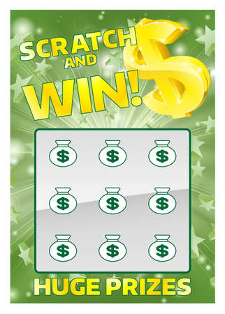 Illustration for An illustration of a lottery scratchcard instant scratch and win - Royalty Free Image