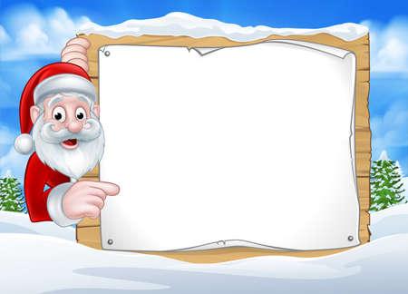 Ilustración de A happy Christmas Santa cartoon character in a winter scene peeking around pointing at a sign - Imagen libre de derechos