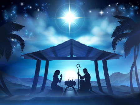 Illustration pour Christmas Nativity Scene of baby Jesus in the manger with Mary and Joseph in silhouette - image libre de droit