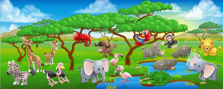 Illustration for A cartoon Safari animal scene landscape with lots of cute friendly animal characters - Royalty Free Image