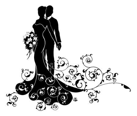 Photo for A bride and groom wedding couple in silhouette with the bride in a bridal dress gown holding a floral bouquet of flowers and an abstract floral pattern concept - Royalty Free Image