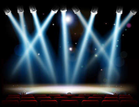 Illustration for A theater or theatre stage and with footlights and spotlights and red audience seats in rows - Royalty Free Image