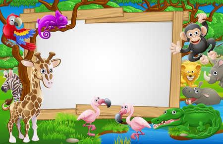 A sign surrounded by cute cartoon safari animals like flamingoes, giraffe, zebra lions and the like.