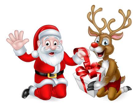 Ilustración de Santa Claus and his Reindeer wrapping or unwrapping a Christmas gift - Imagen libre de derechos