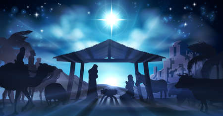 Illustration pour Christian Christmas Nativity Scene of baby Jesus in the manger with Mary and Joseph in silhouette surrounded by animals and the three wise men magi with the city of Bethlehem in the distance - image libre de droit