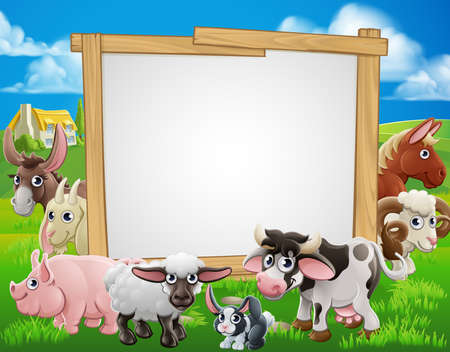 Foto de Farm cartoon sign with cute animals around a signboard - Imagen libre de derechos