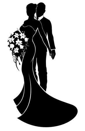 Foto de Wedding couple bride and groom in silhouette with the bride in a bridal dress gown holding a floral bouquet of flowers - Imagen libre de derechos