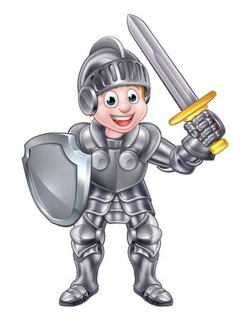 Illustration for A cartoon knight boy in his suit of armour holding a sword and shield - Royalty Free Image