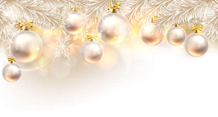Illustration for Christmas background bauble design element in white and gold - Royalty Free Image