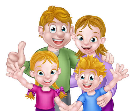 Illustration for Family scene of kids and parents - Royalty Free Image