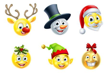 Illustration for A set of Christmas emoji icons - Royalty Free Image