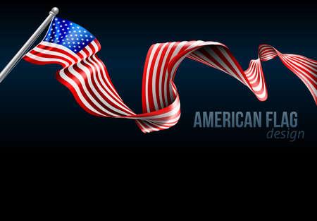 Illustration pour An American flag ribbon background design graphic - image libre de droit