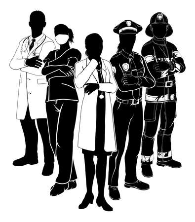 Illustration pour Silhouette emergency rescue services worker team with male and female police, fireman and doctors - image libre de droit
