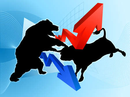 Stock market concept of a silhouette bear fighting a bull mascot character in front of a financial or profit graph