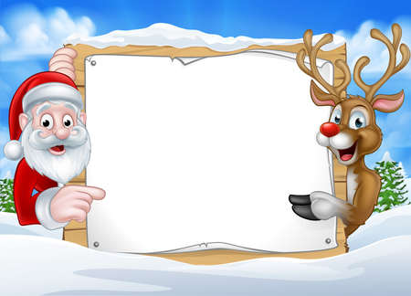 Illustration for A happy Christmas reindeer and Santa cartoon characters in a winter scene peeking around pointing at a sign - Royalty Free Image