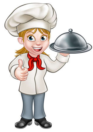 Ilustración de Cartoon woman chef or baker holding a silver cloche food meal plate platter and giving thumbs up - Imagen libre de derechos