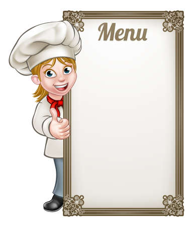 Ilustración de Cartoon female woman chef or baker character giving thumbs up with menu sign board - Imagen libre de derechos