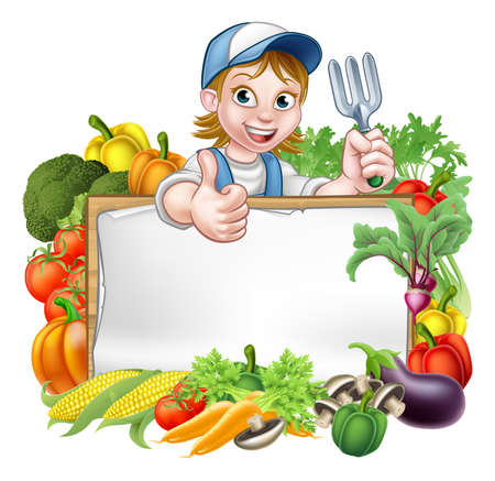 Foto per A cartoon woman gardener holding a gardening tool and giving a thumbs up with a sign surrounded by vegetables and fruit garden produce  - Immagine Royalty Free