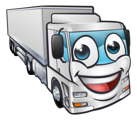Illustration for A cartoon truck lorry transport logistics freight industry mascot character - Royalty Free Image