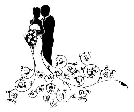 Foto de A bride and groom wedding couple in silhouette with a white bridal dress gown holding a floral bouquet of flowers and an abstract floral pattern concept - Imagen libre de derechos