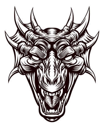 Illustration for Original illustration of a monster dragon head in a vintage retro woodcut etched engraving style - Royalty Free Image