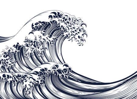 Ilustración de An oriental Japanese great wave in a vintage retro engraved etching woodcut style - Imagen libre de derechos