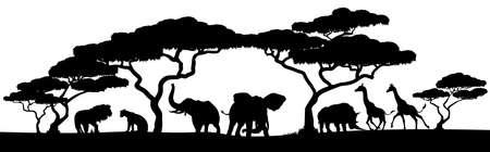 Ilustración de An African safari animal silhouette landscape scene - Imagen libre de derechos