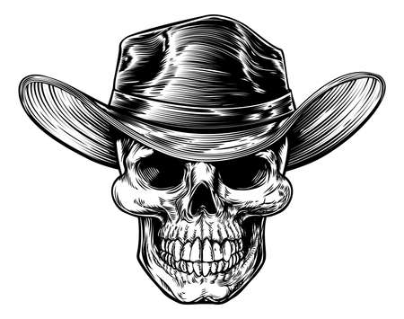 Illustration pour Skull cowboy drawing in a vintage retro woodcut etched or engraved style - image libre de droit