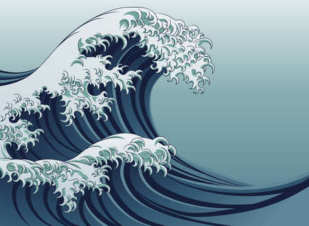 Illustration pour An oriental Japanese style great wave in a vintage style - image libre de droit