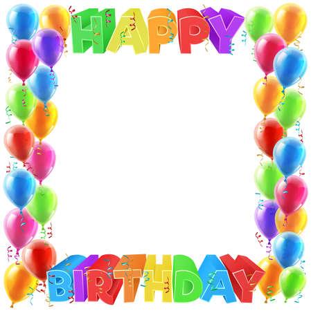 Ilustración de A balloons and Happy Birthday bright color word text sign invite border frame design - Imagen libre de derechos