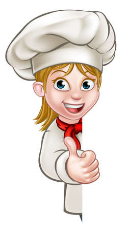 Illustration for Cartoon chef or baker woman character giving thumbs up and peeking around sign or background - Royalty Free Image