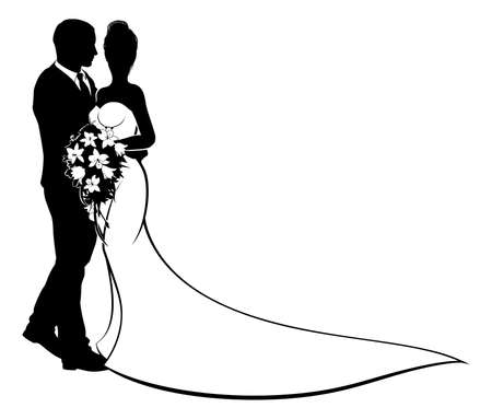 Illustration pour A bride and groom silhouette, in a bridal dress gown holding a floral wedding bouquet of flowers - image libre de droit