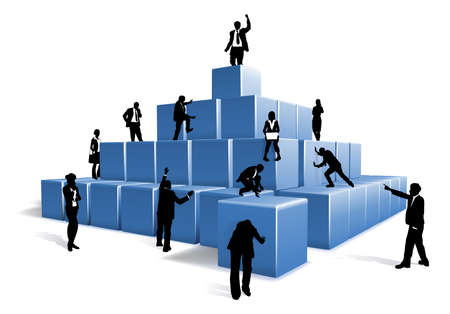 Illustration pour People silhouettes business team working together using big building blocks to make a structure. Concept for teamwork - image libre de droit