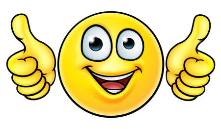 Illustration pour A cartoon emoji icon emoticon looking very happy with his two thumbs up - image libre de droit