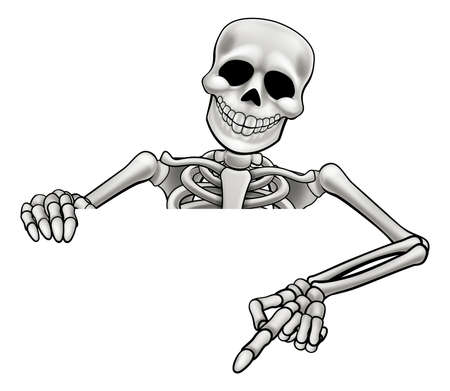 Illustration for A skeleton Halloween cartoon character peeking over a sign and pointing - Royalty Free Image