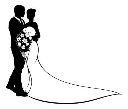Illustration pour A bride and groom wedding couple in silhouette with in a bridal dress gown holding a floral bouquet of flowers - image libre de droit