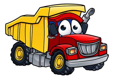 Ilustración de Cartoon character dump tipper truck lorry construction vehicle illustration - Imagen libre de derechos