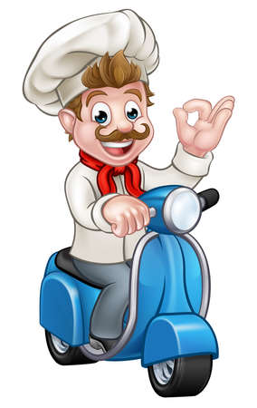 Illustration pour Cartoon chef or baker character riding a delivery moped motorbike scooter and giving a perfect okay delicious cook gesture - image libre de droit