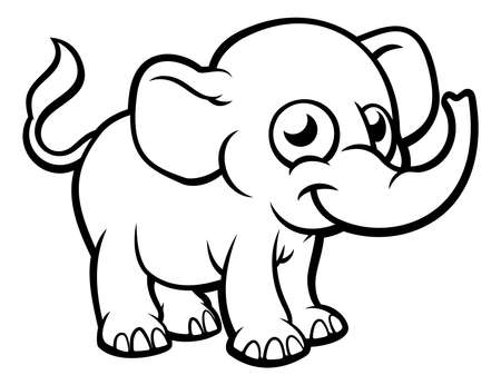 Photo pour An elephant cartoon character outline coloring illustration - image libre de droit