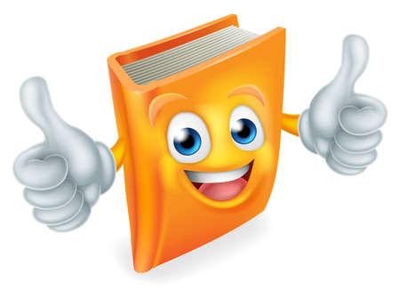 Ilustración de A cute book cartoon character education mascot giving a double thumbs up - Imagen libre de derechos
