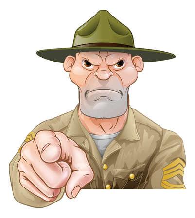 Illustration pour Cartoon army drill sergeant soldier pointing - image libre de droit