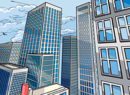 Ilustración de City background scene in a cartoon popart comicbook style with skyscraper buildings - Imagen libre de derechos