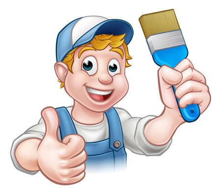 Illustration for A handyman painter decorator cartoon character holding a paintbrush and giving a thumbs up - Royalty Free Image