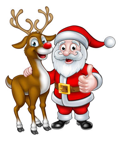 Illustration for A Santa and his Christmas reindeer cartoon characters - Royalty Free Image