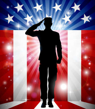 Foto per A US soldier saluting in front of an American flag background for Veterans Day - Immagine Royalty Free