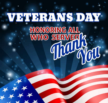 Illustration for American Flag Veterans Day Background - Royalty Free Image