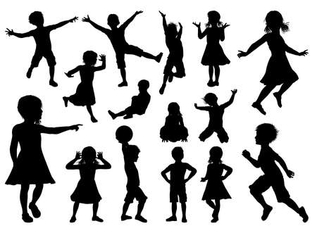 Illustration for Children Silhouette Set - Royalty Free Image