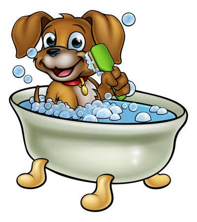 Illustration pour Cartoon Dog in the Bath - image libre de droit