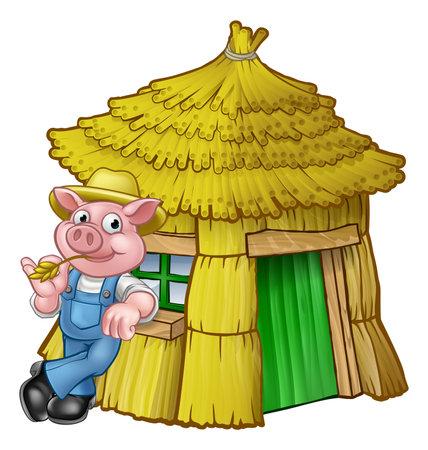 Illustration pour Three Little Pigs Fairy Tale Straw House - image libre de droit