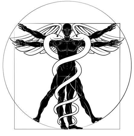 Illustration pour Caduceus Vitruvian Man - image libre de droit